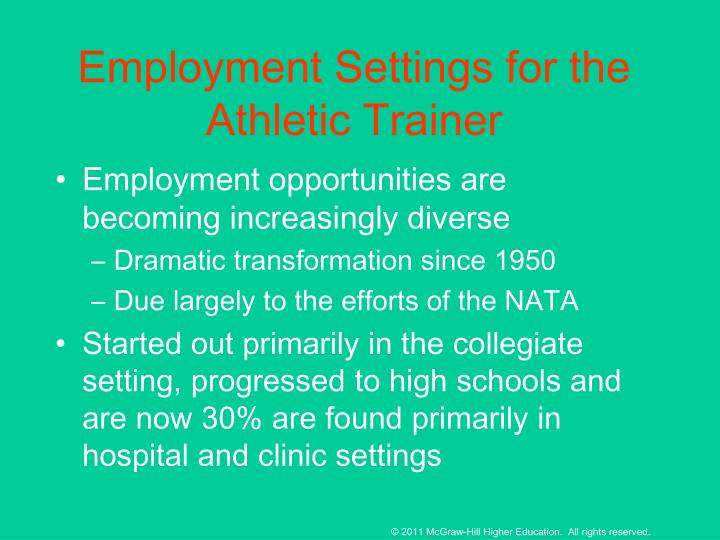 Employment Settings for the Athletic Trainer