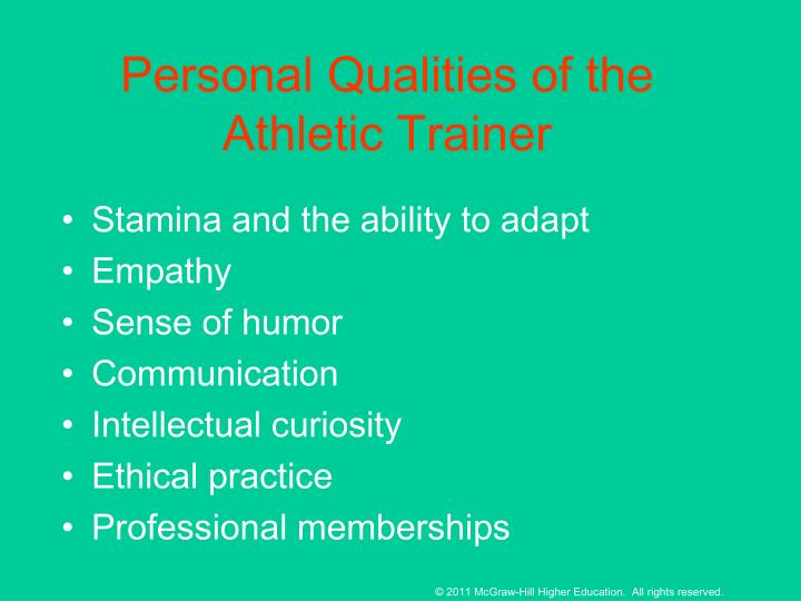 Personal Qualities of the Athletic Trainer