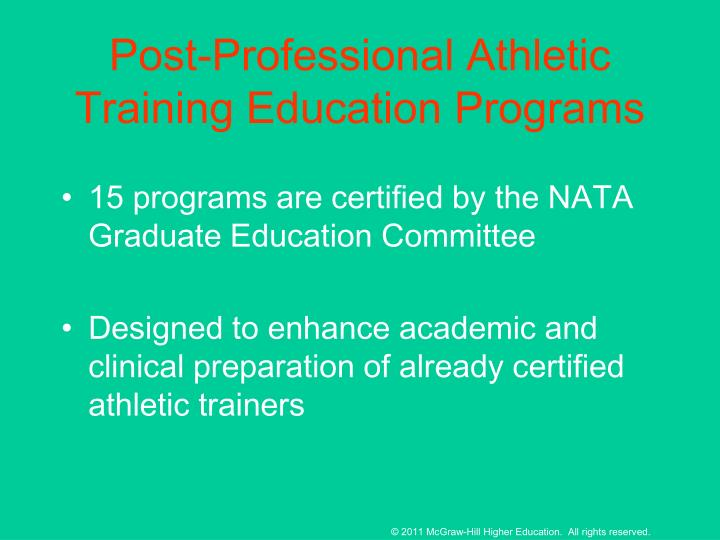 Post-Professional Athletic Training Education Programs
