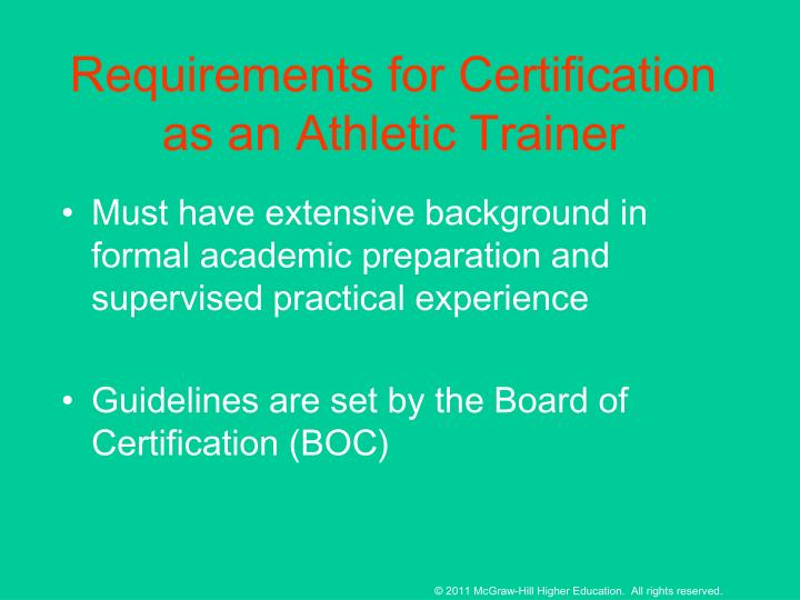 Requirements for Certification as an Athletic Trainer