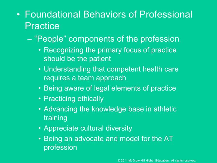 Foundational Behaviors of Professional Practice