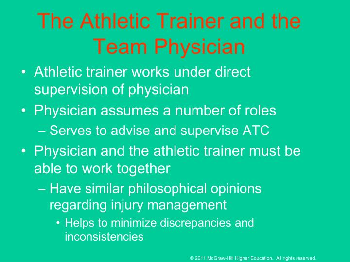 The Athletic Trainer and the Team Physician