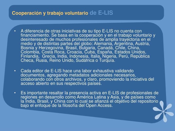 Cooperación y trabajo voluntario