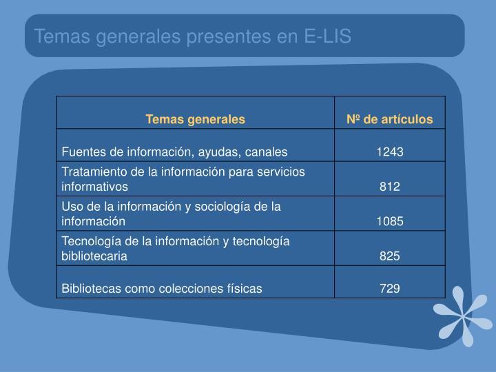 Temas generales presentes en E-LIS