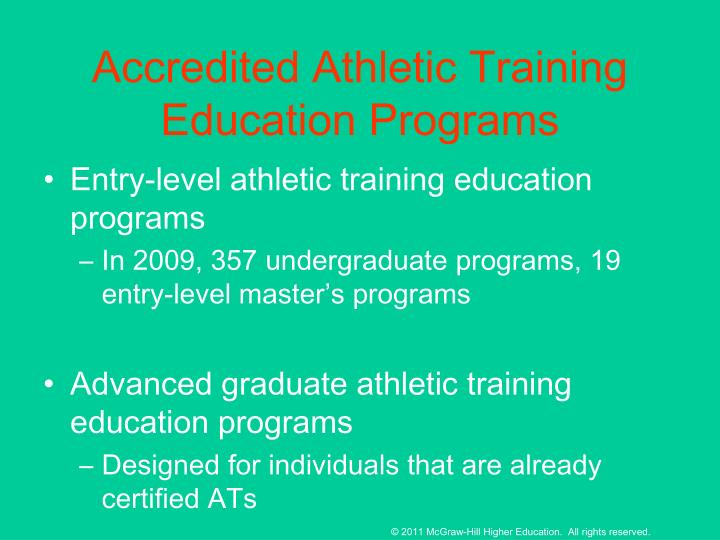 Accredited Athletic Training Education Programs
