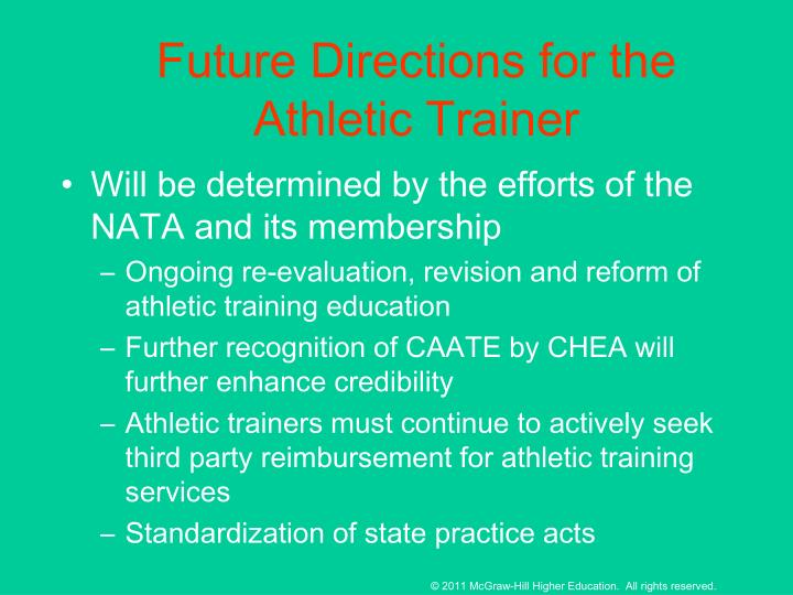Future Directions for the Athletic Trainer
