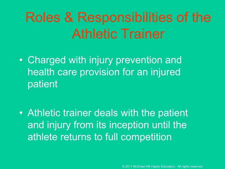 Roles & Responsibilities of the Athletic Trainer
