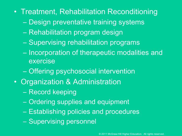Treatment, Rehabilitation Reconditioning