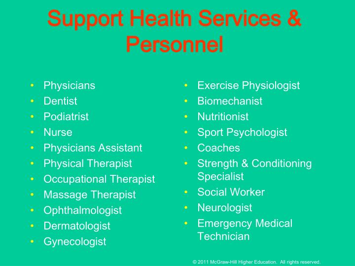 Support Health Services & Personnel