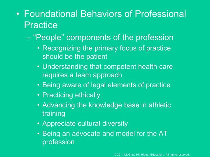Foundational Behaviors of Professional Practice