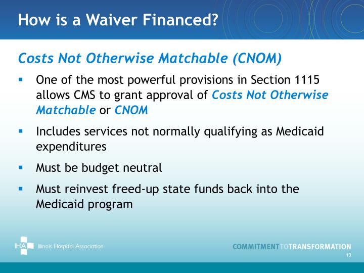 How is a Waiver Financed?