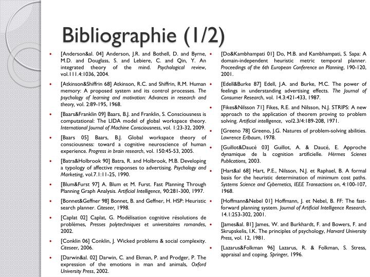 Bibliographie (1/2)