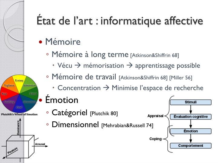 État de l'art : informatique affective