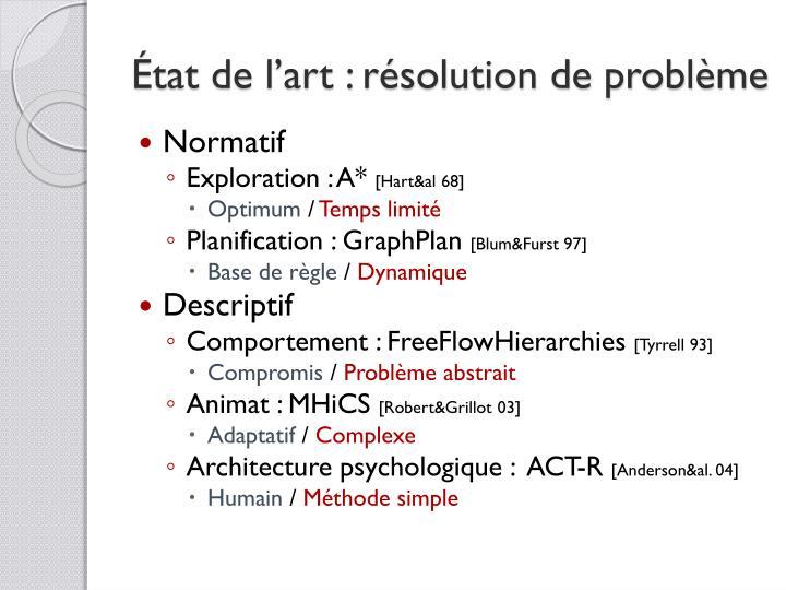 État de l'art : résolution de problème