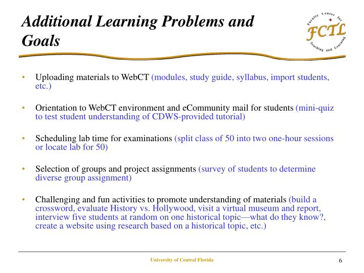 Additional Learning Problems and Goals