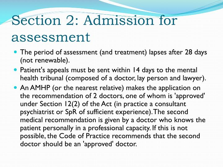 Section 2: Admission for assessment