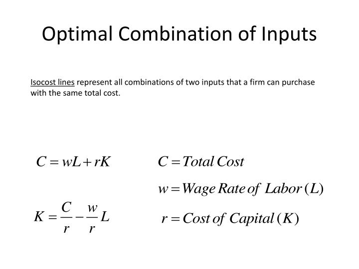 Optimal Combination of Inputs