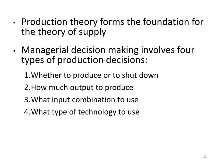 Production theory forms the foundation for the theory of supply