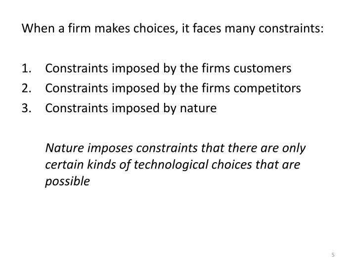 When a firm makes choices, it faces many constraints: