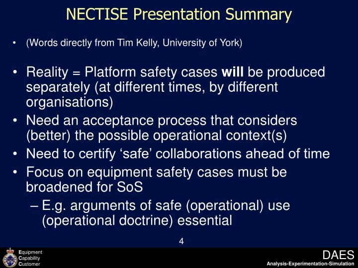 NECTISE Presentation Summary