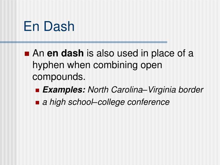 En Dash