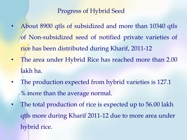 Progress of Hybrid Seed