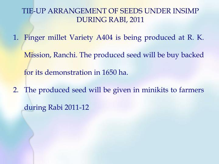 TIE-UP ARRANGEMENT OF SEEDS UNDER INSIMP DURING RABI, 2011