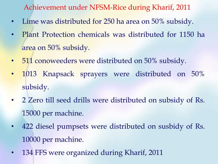 Achievement under NFSM-Rice during Kharif, 2011