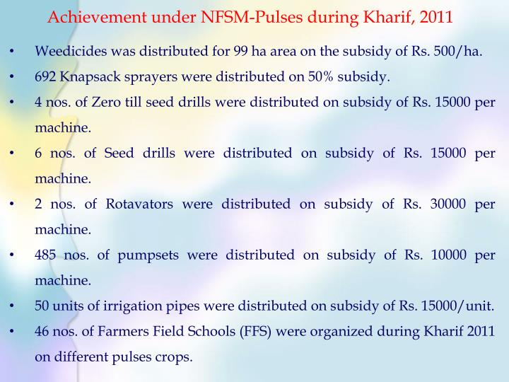 Achievement under NFSM-Pulses during Kharif, 2011