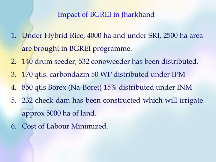 Impact of BGREI in Jharkhand