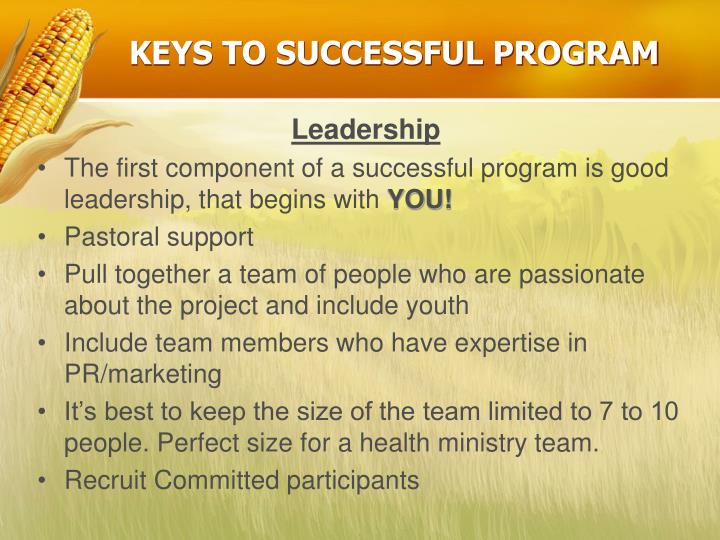 Keys to successful program
