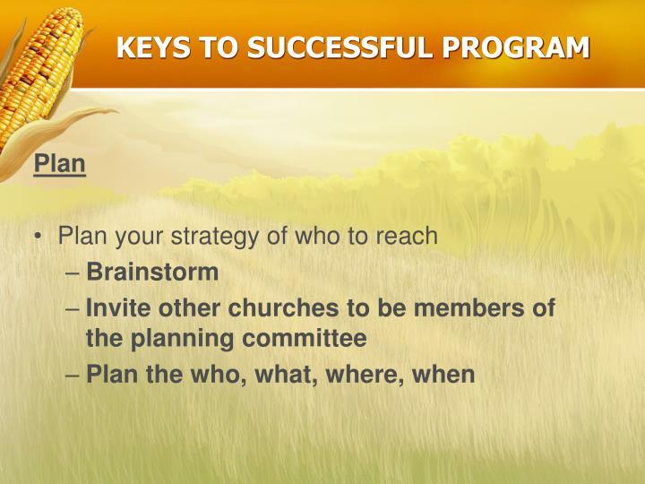 KEYS TO SUCCESSFUL PROGRAM