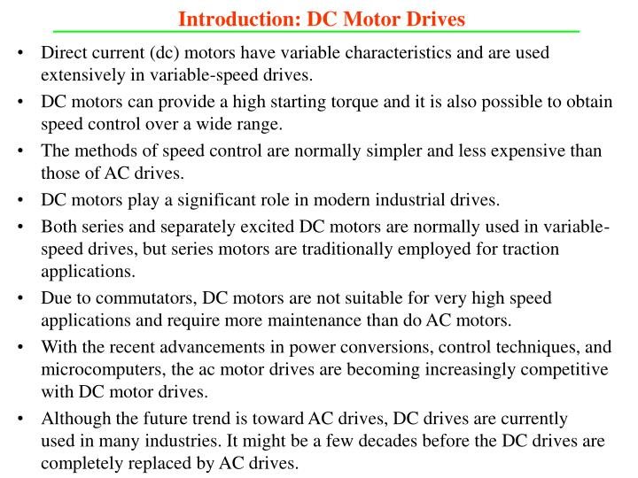 Introduction dc motor drives