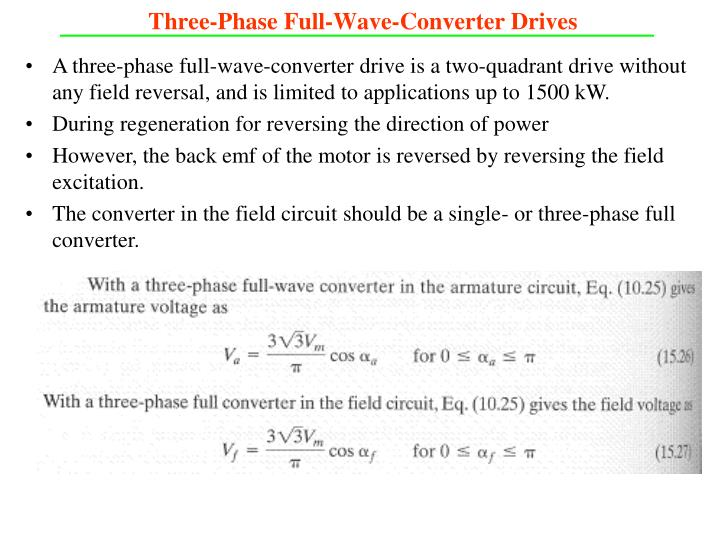Three-Phase Full-Wave-Converter Drives