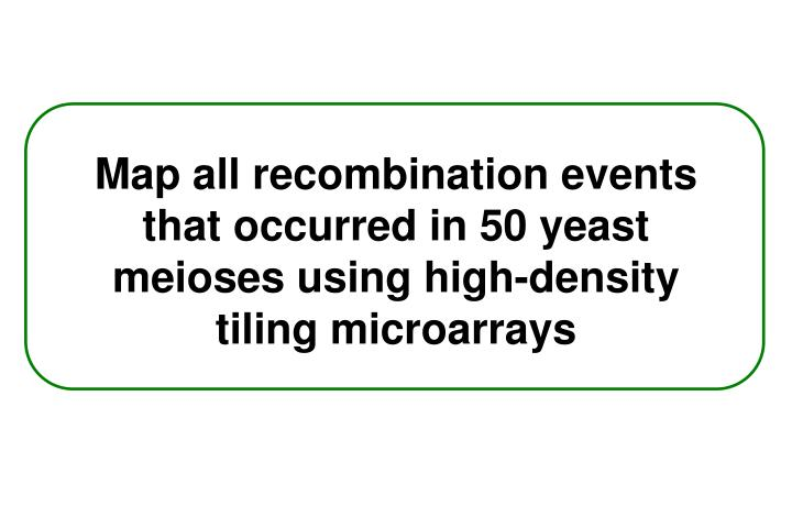 Map all recombination events that occurred in 50 yeast meioses using high-density tiling microarrays