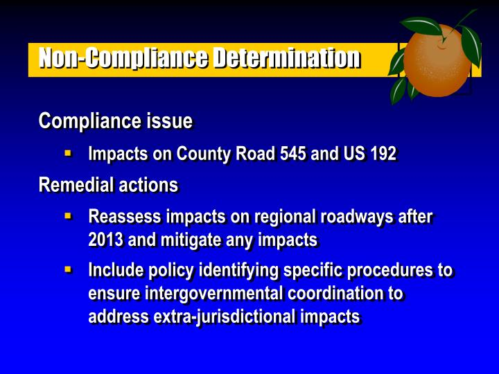 Non-Compliance Determination
