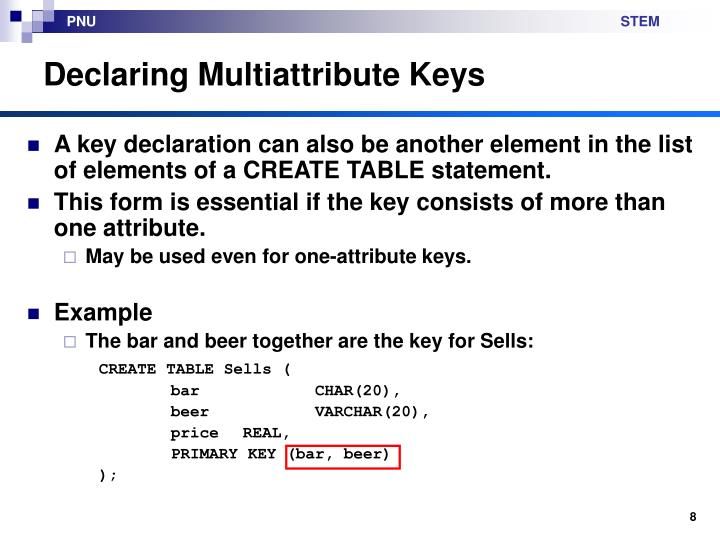 Declaring Multiattribute Keys