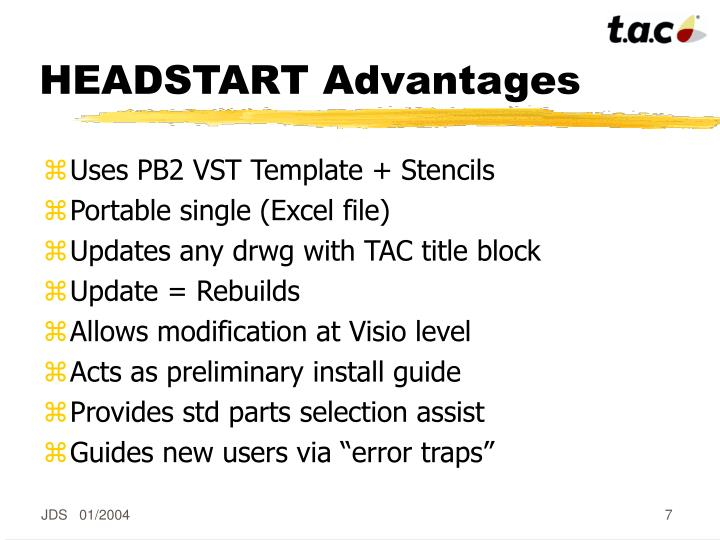 HEADSTART Advantages