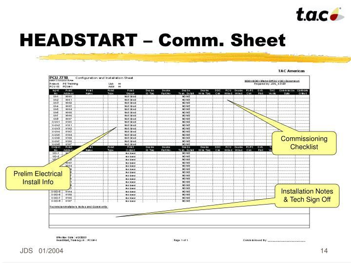 HEADSTART – Comm. Sheet