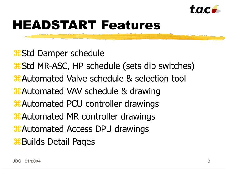HEADSTART Features