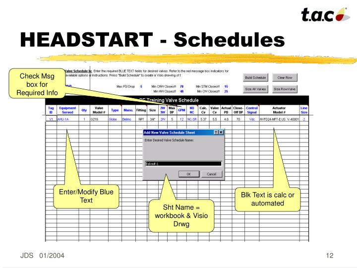 HEADSTART - Schedules