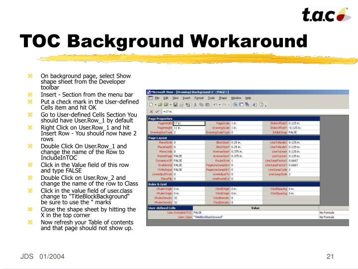 TOC Background Workaround