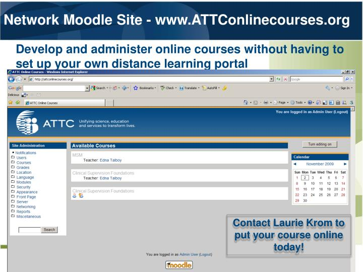 Network Moodle Site - www.ATTConlinecourses.org