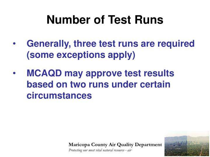 Number of Test Runs