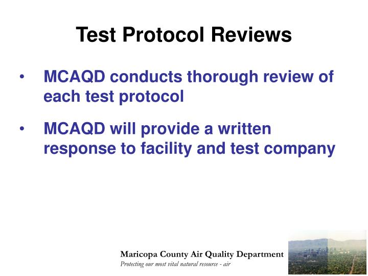 Test Protocol Reviews