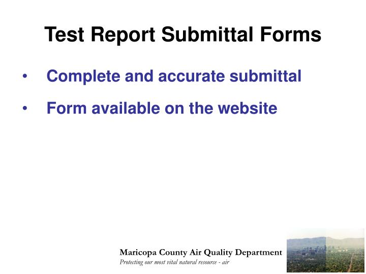 Test Report Submittal Forms