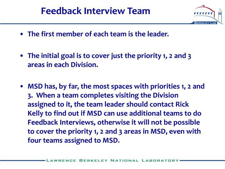 Feedback Interview Team
