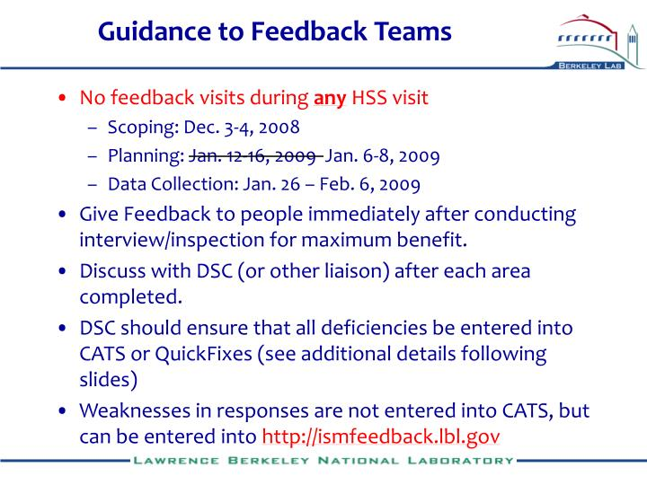 Guidance to Feedback Teams