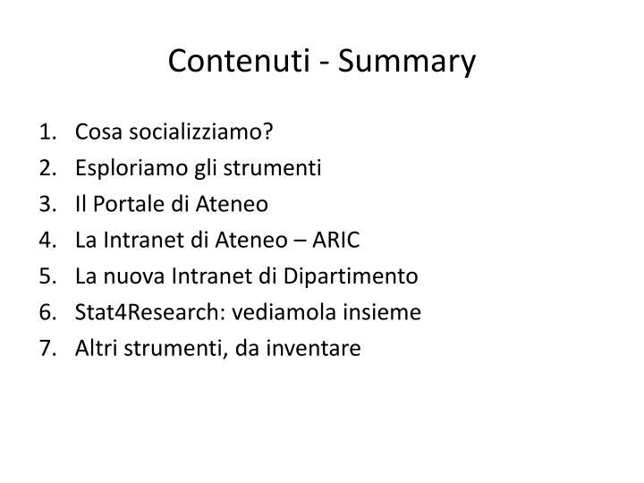 Contenuti - Summary