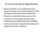 la nuova intranet di dipartimento